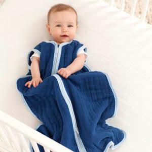cozy sleeping bag boy in blue lifestyle